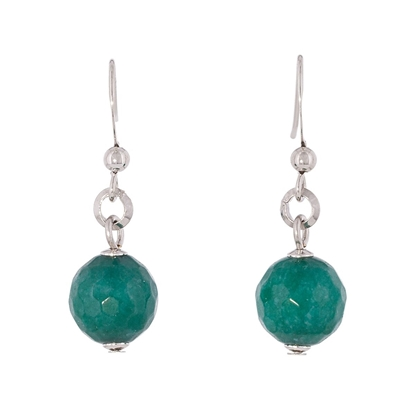 Picture of Forever Bold – Natural Stone Earrings with Silver Tone, Malaysian Jade Beads and Sterling Silver Hooks